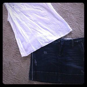 Denim distressed mini skirt